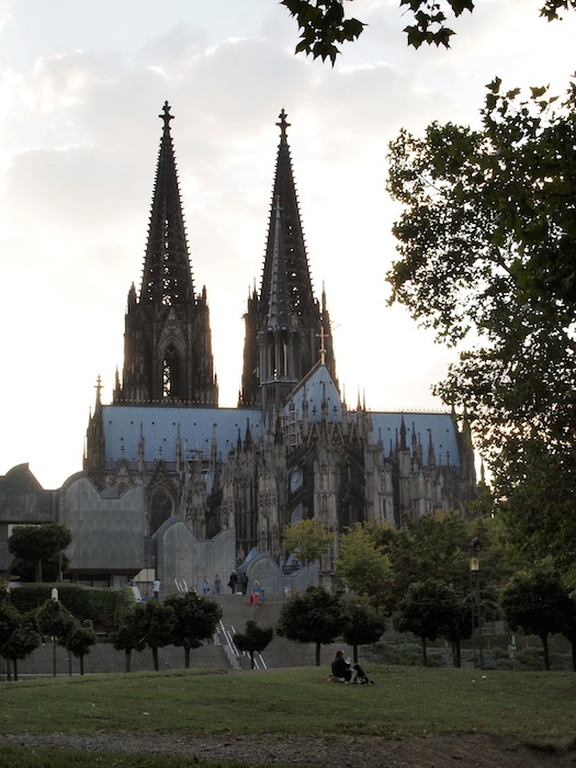 Cologne Cathedral seen from the banks of the Rhine